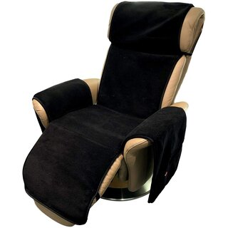 Armchair cover Relax armchair anthracite/black with pockets 100% wool cashmere